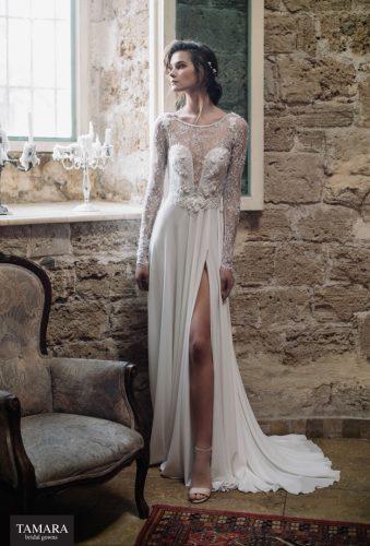 שמלת כלה עם שסע, שרוול תחרה ארוך