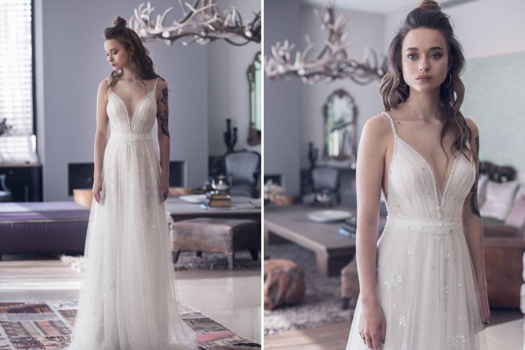 שמלת כלה שיפון ללא תחרה