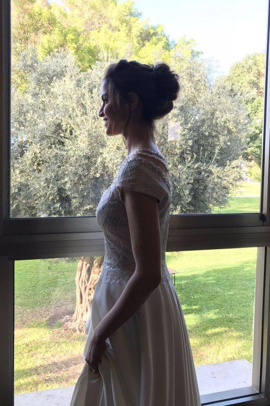 שמלת כלה שיפון משולבת תחרה