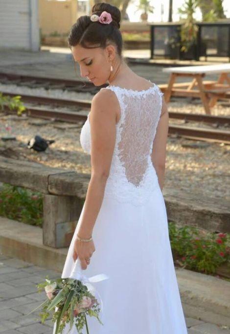 שמלת כלה תחרה בגב