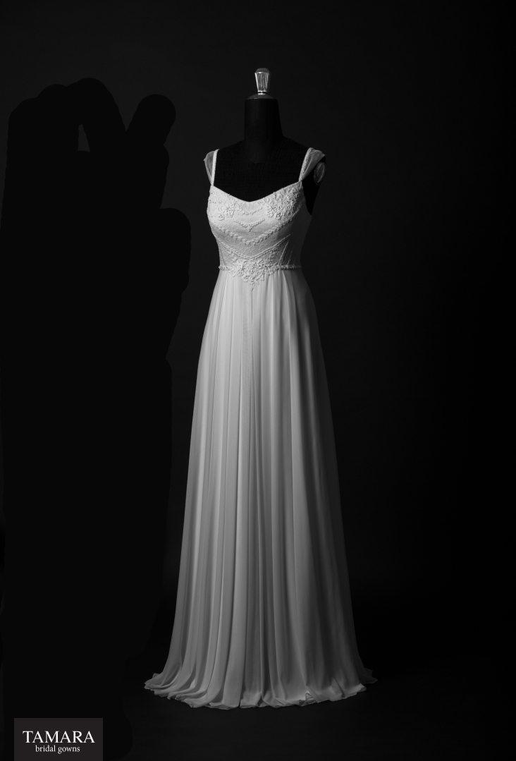 שמלת כלה קלאסית משיפון עם רקמה