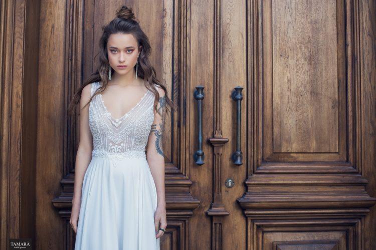 שמלת כלה רומנטית - רקמה ושיפון