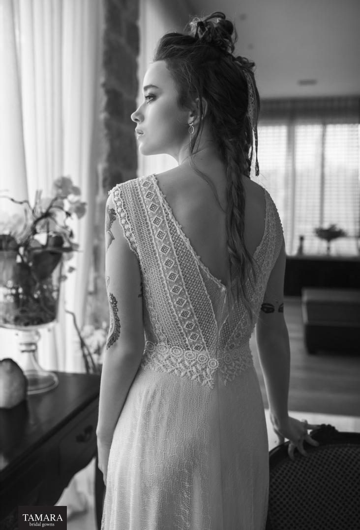 שמלת כלה בוהו תחרה גב חשוף