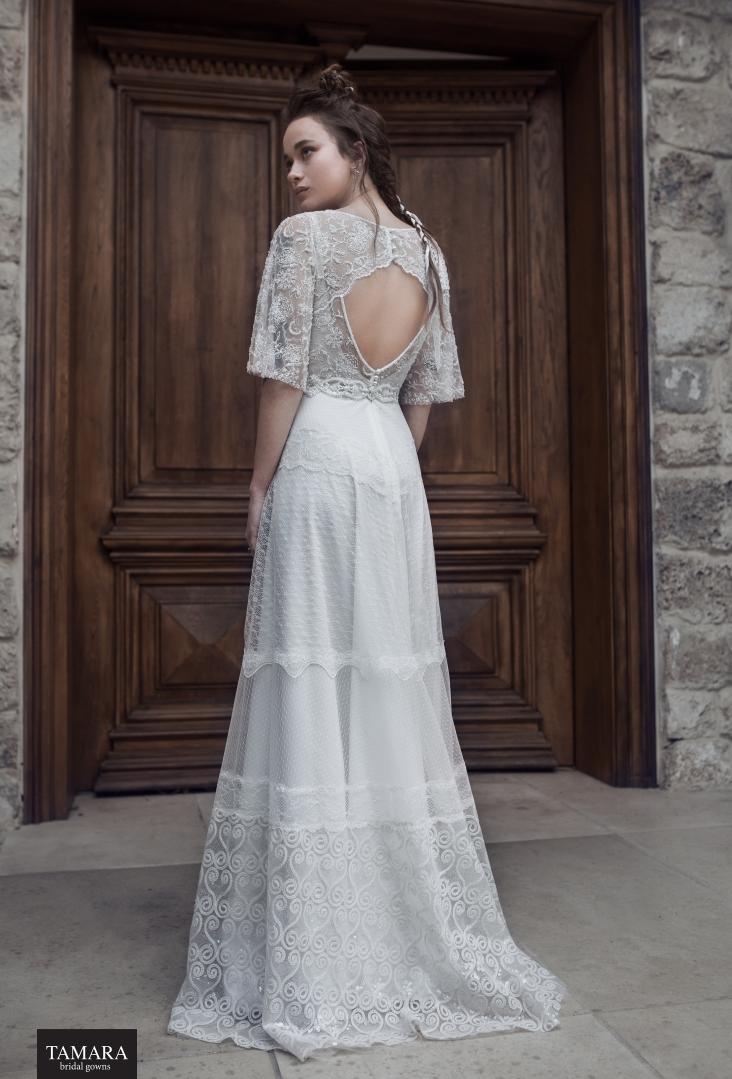שמלת כלה בוהמית גב פתוח תחרה