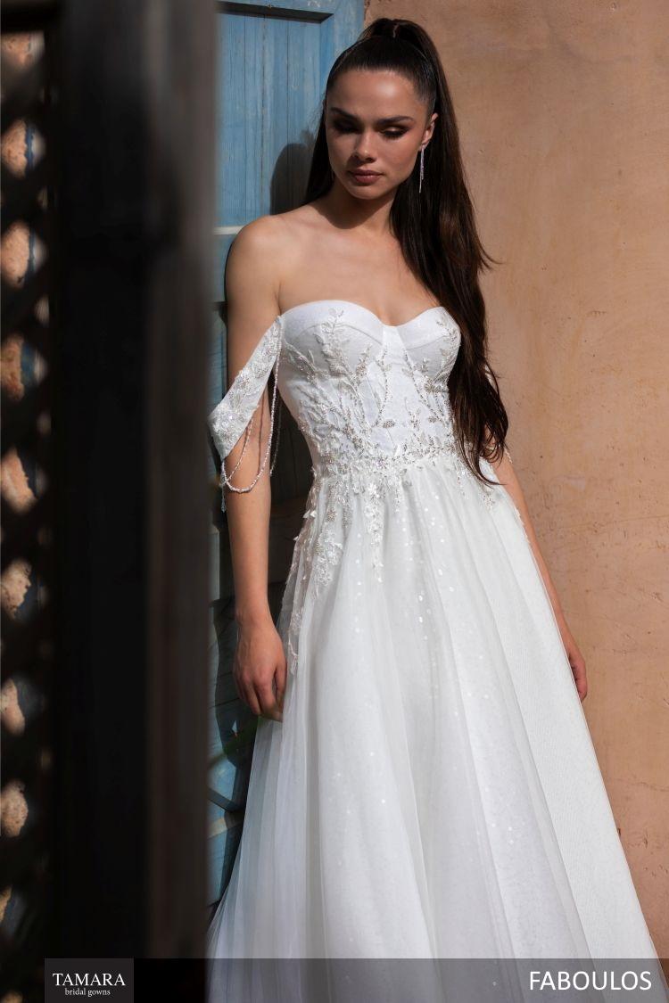שמלת כלה כתפיות נופלות